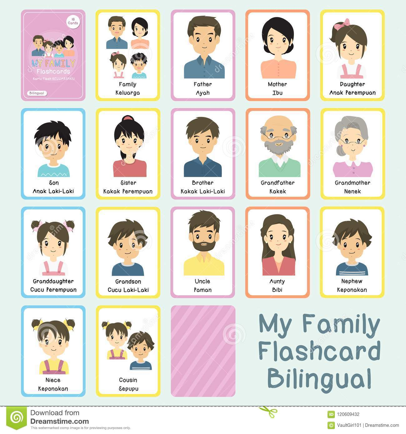 My Family Flashcard Vector Design Stock Vector