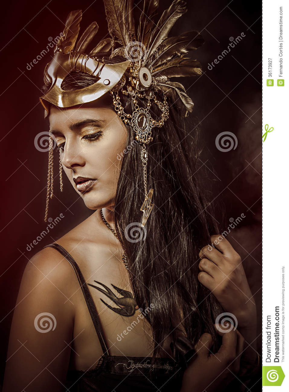 Download Mystery Queen : download, mystery, queen, Mystery, Queen,, Young, Golden, Mask,, Ancient, Goddess, Stock, Image, Head,, Fairytale:, 36173927