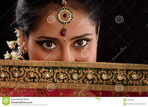 Mystery Young Indian Woman Stock - 41653087