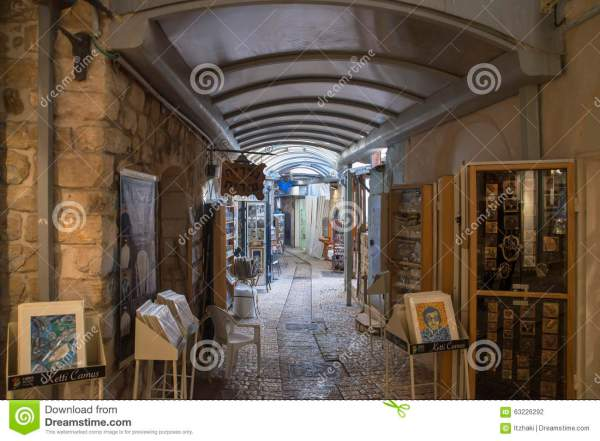 Narrow City Street Of Shops And Art Galleries In Tzfat