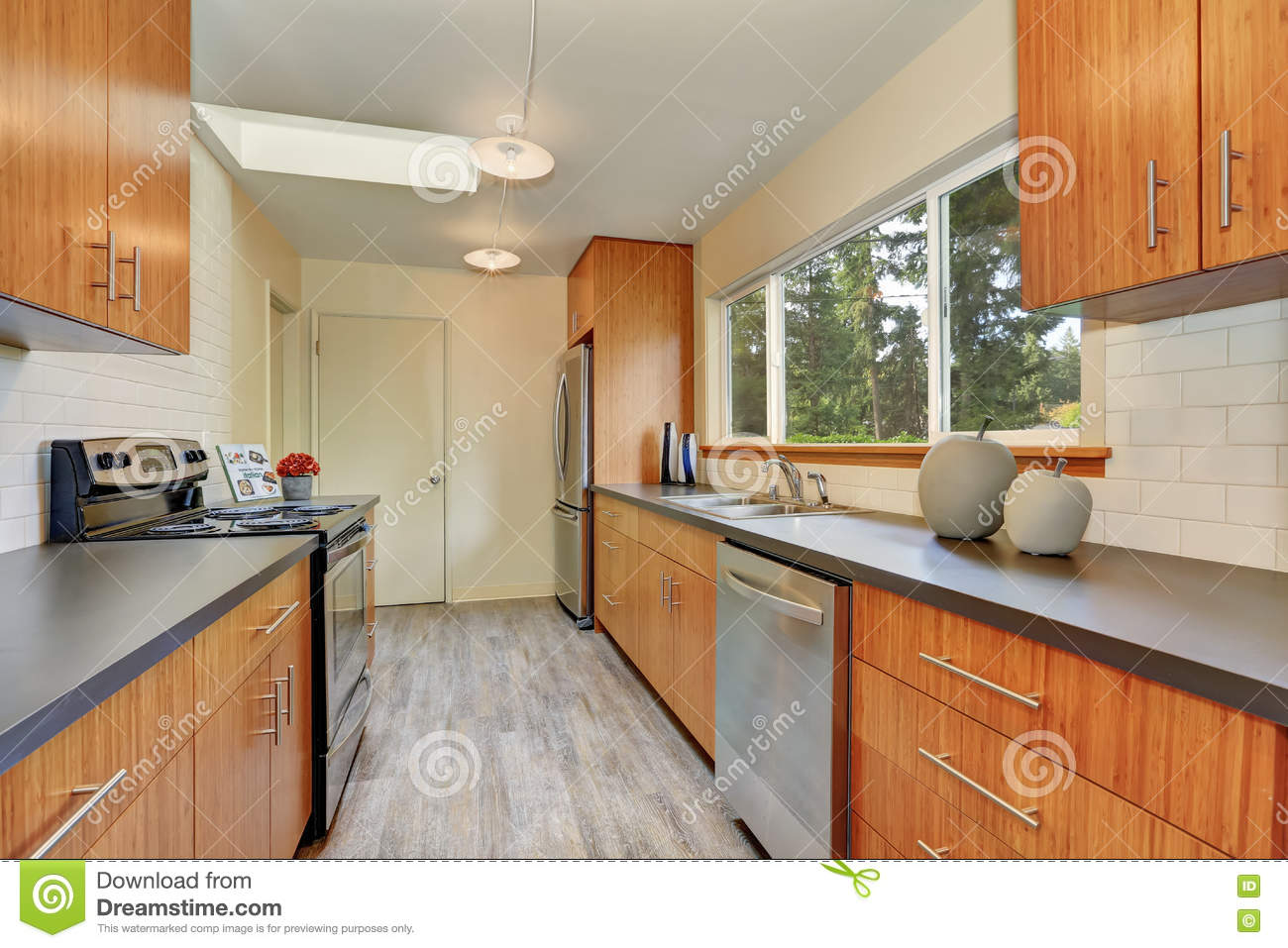 narrow kitchen countertops small table for 2 room with long grey counters stock image