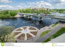Narva River Embankment And Beautiful View Of
