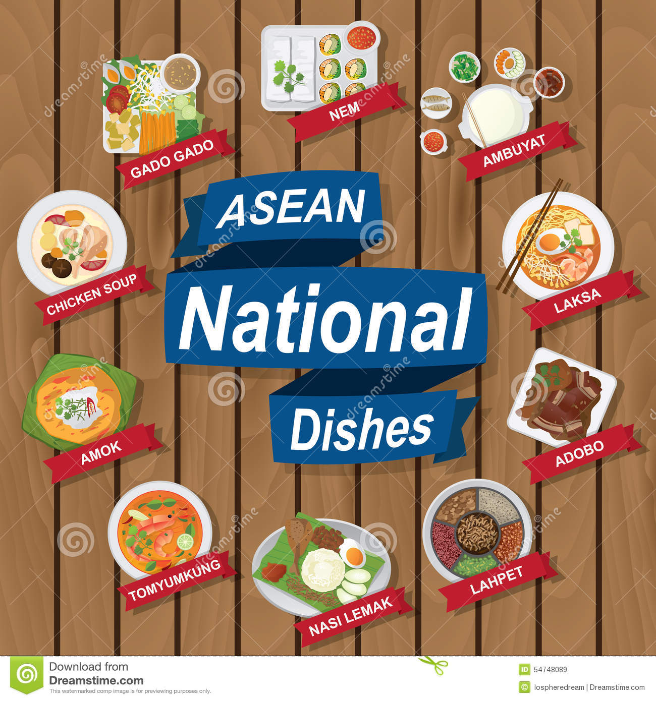 National Dishes Of Asean On Wooden Background Stock Vector