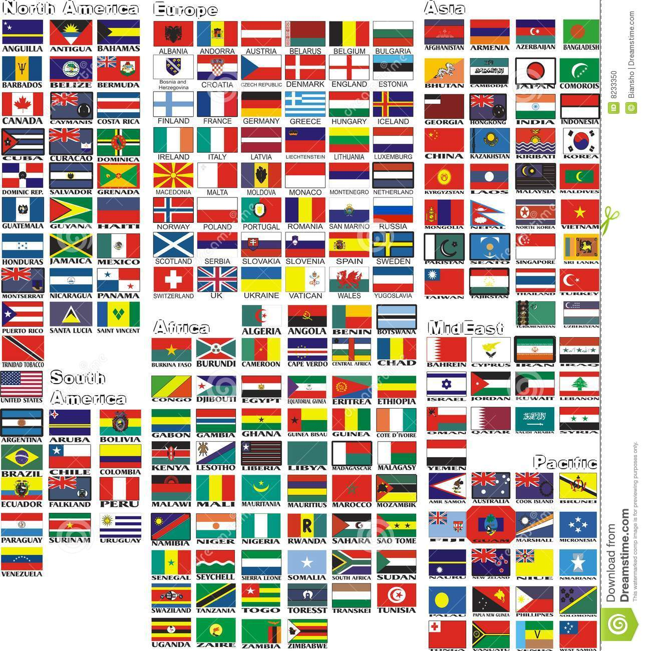 The National Flags Of All Countries Of The World Stock