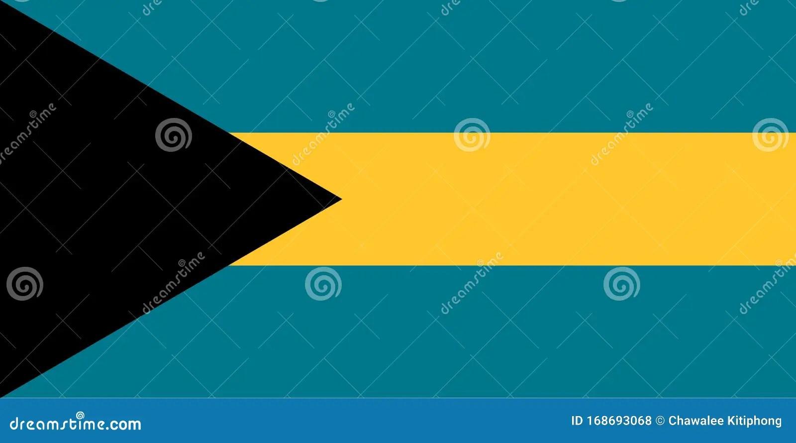 Bahamas Flag National Flag Of Bahamas Stock Vector
