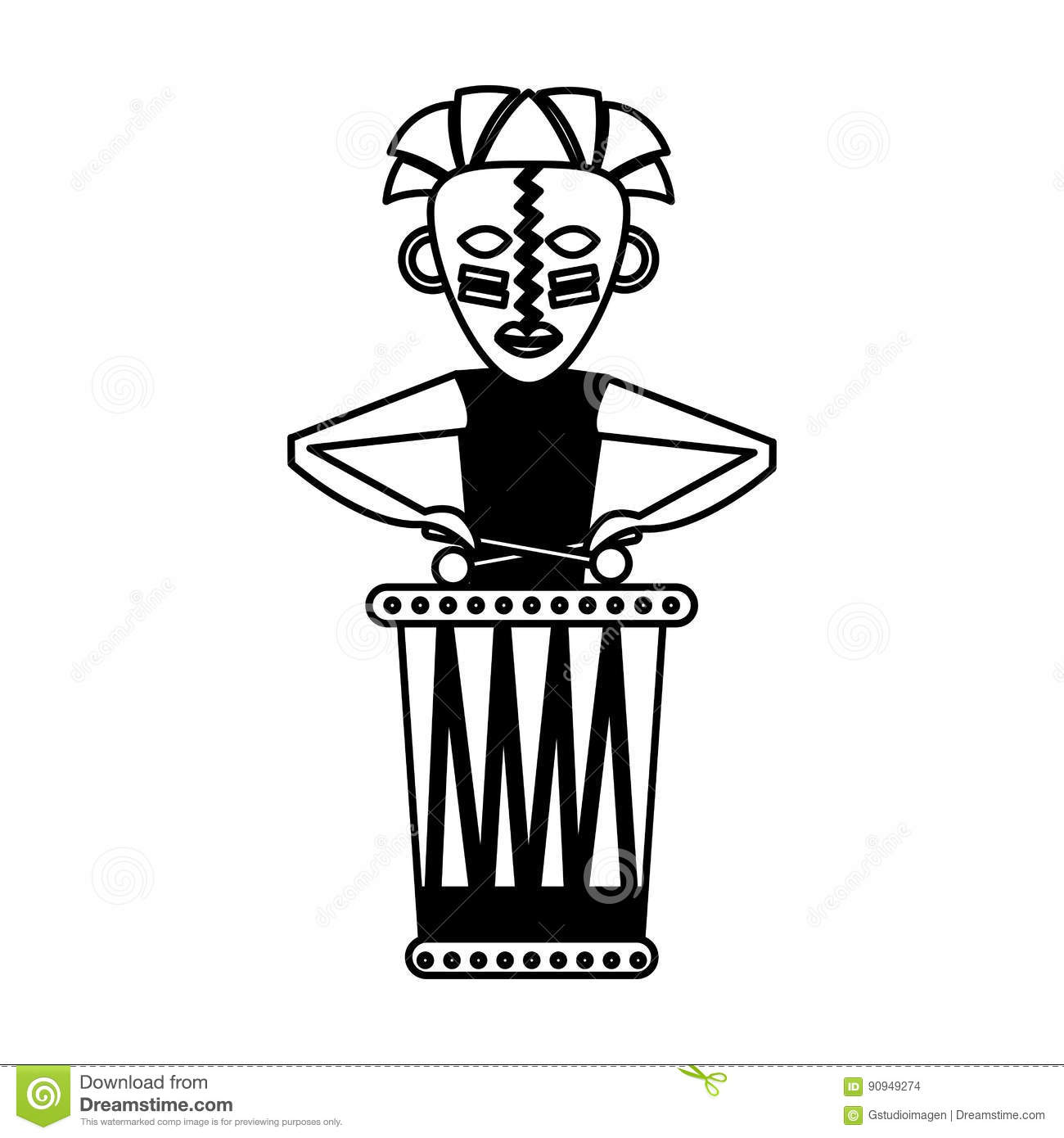 Drum Player Graphic Vector. Vector Illustration