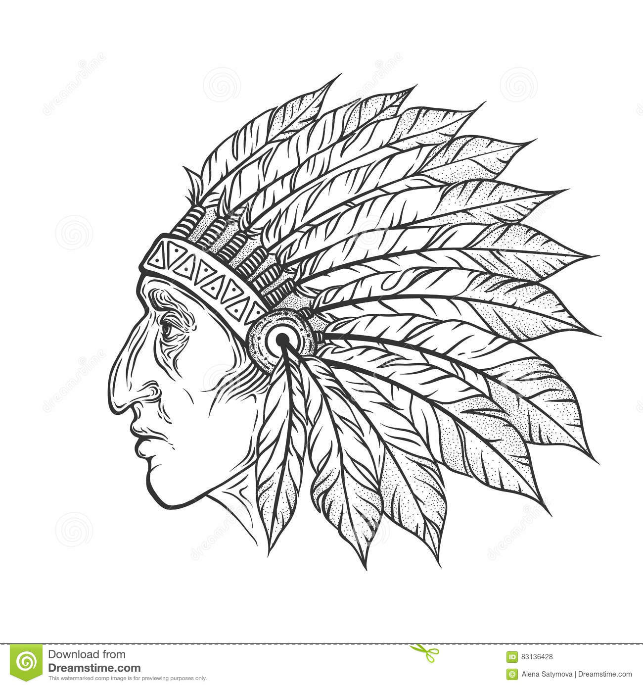 Sketch Of Tattoo Art, Native American Indian Royalty-Free