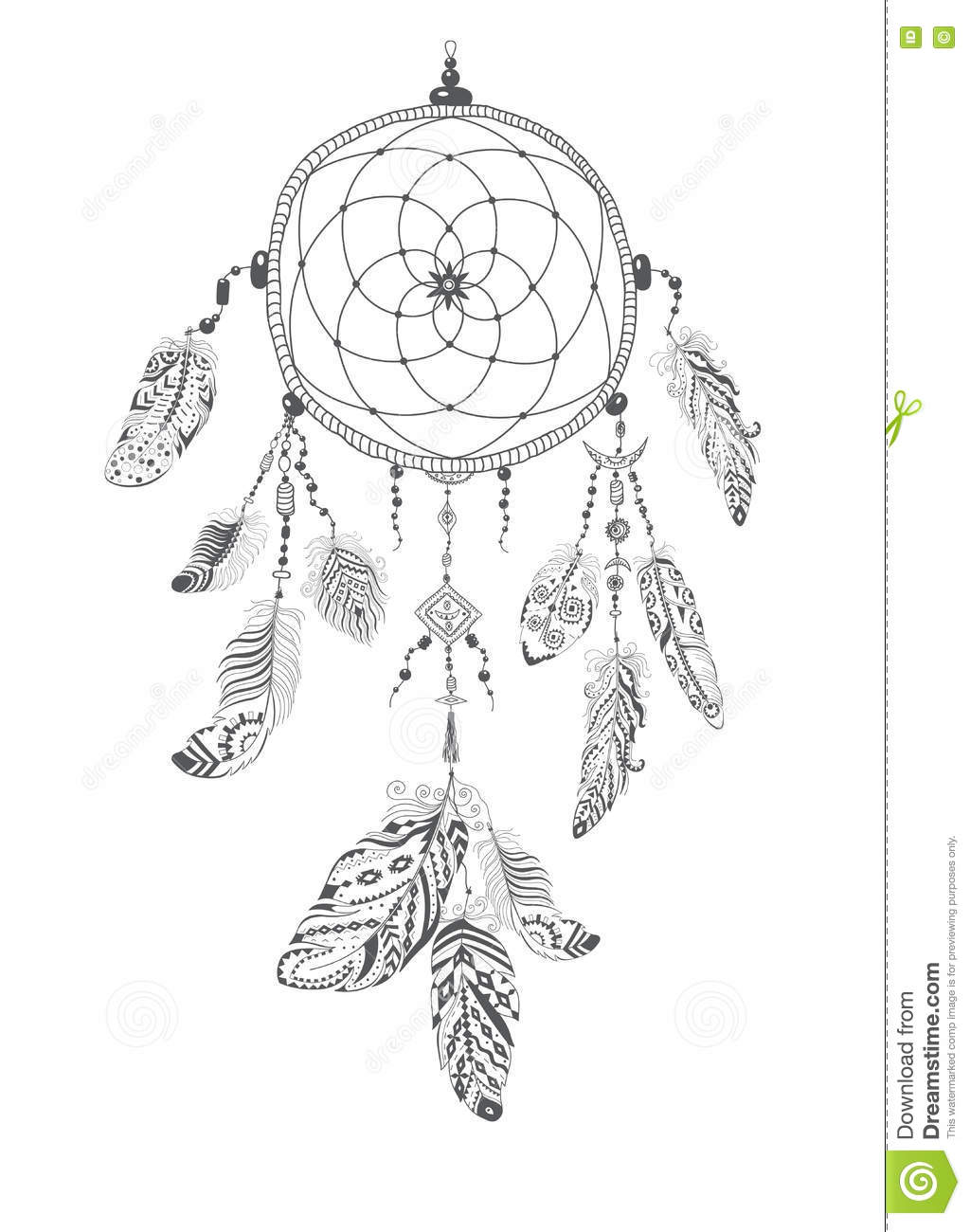 Native American Indian Talisman Dreamcatcher With Feathers