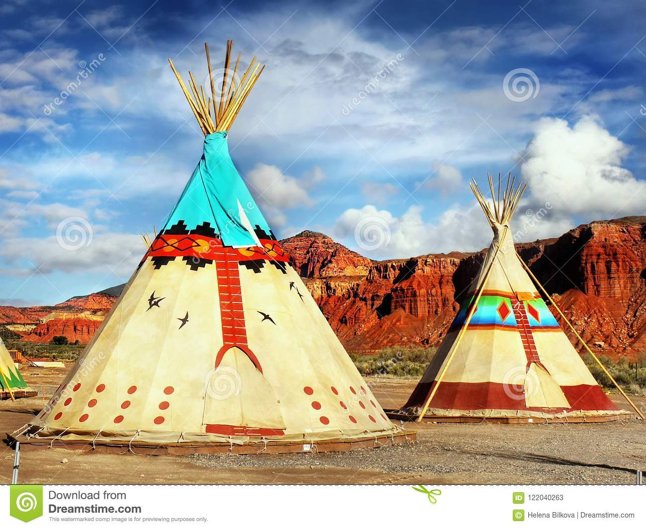 Native American Indian Tents Teepee Stock Image
