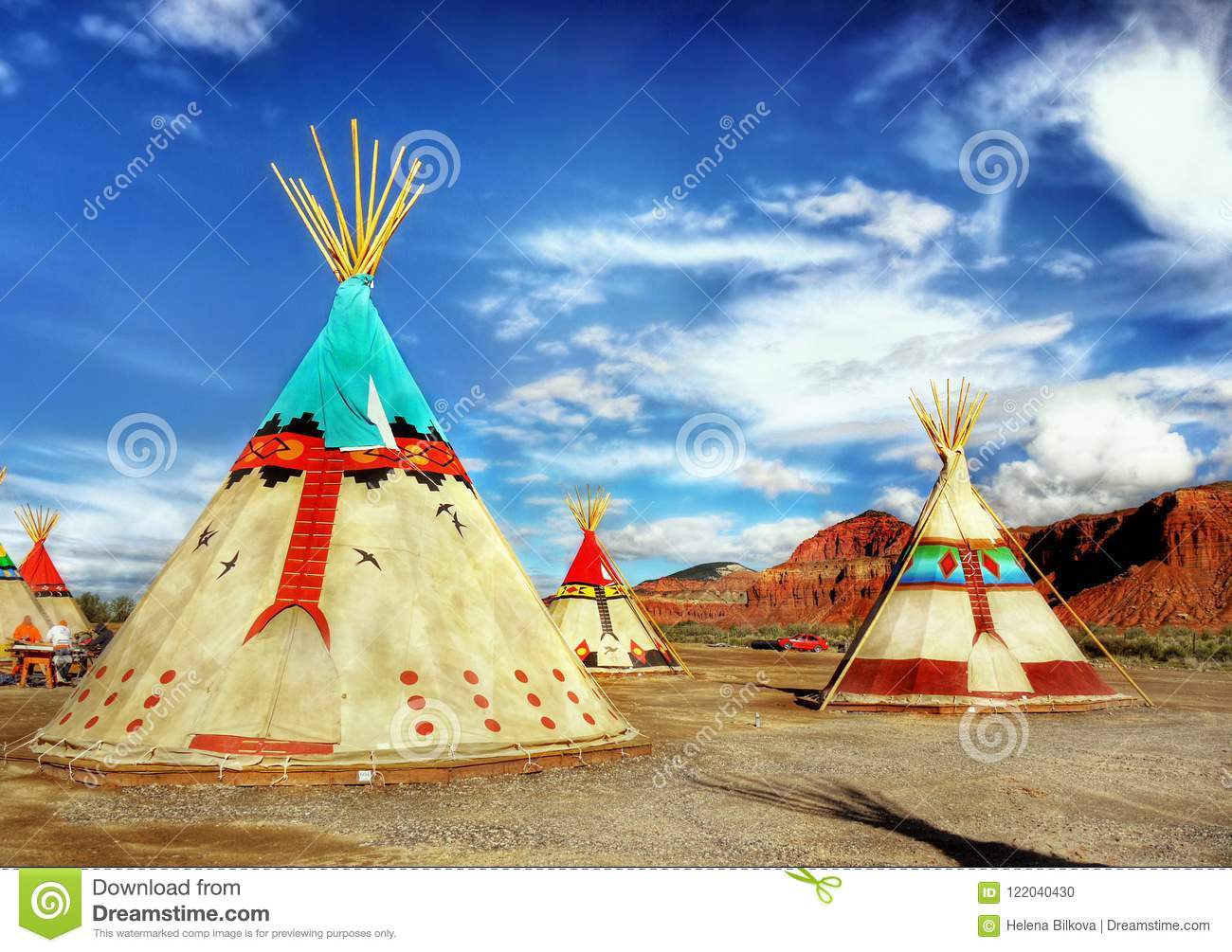 Native American Indian Tents Teepee Stock Photo