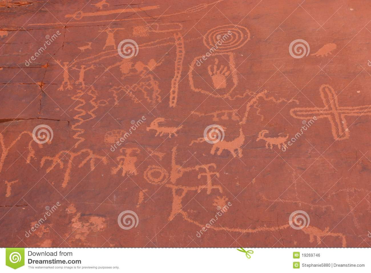 Native American Indian Writing On Rock Royalty Free Stock