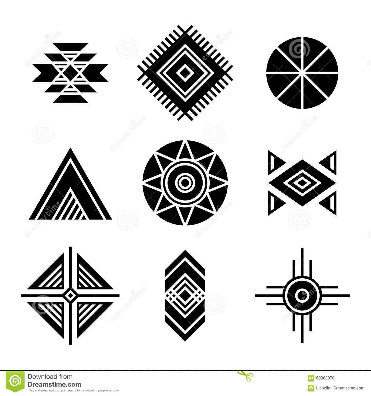 Native American Indians Tribal Symbols Stock Vector