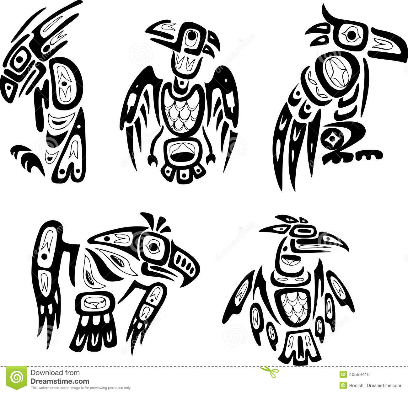 Native Indian Shoshone Tribal Drawings Eagles Stock