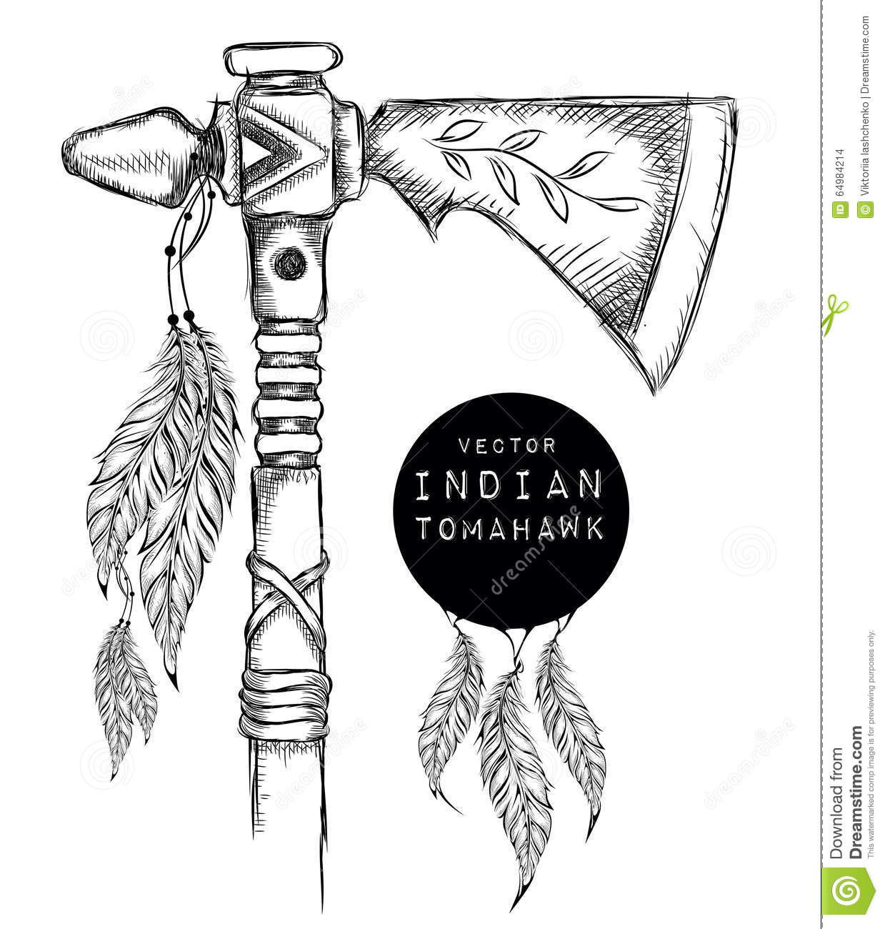 Native Indian Tomahawk Indian Weapon Hand Draw Vector