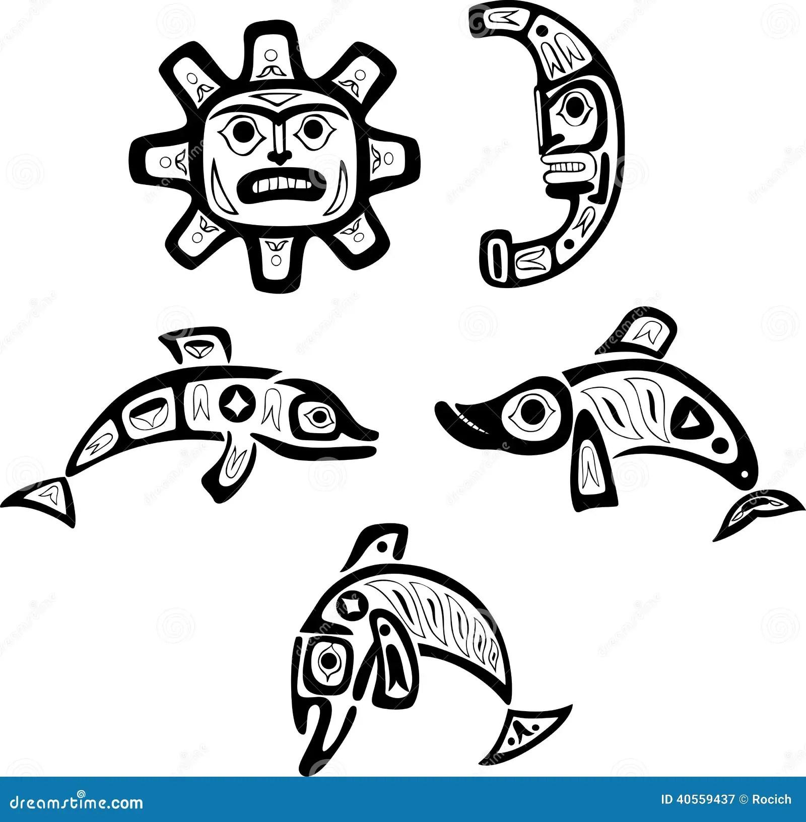 Native Shoshone Tribal Drawings Fish Sun Moon Stock