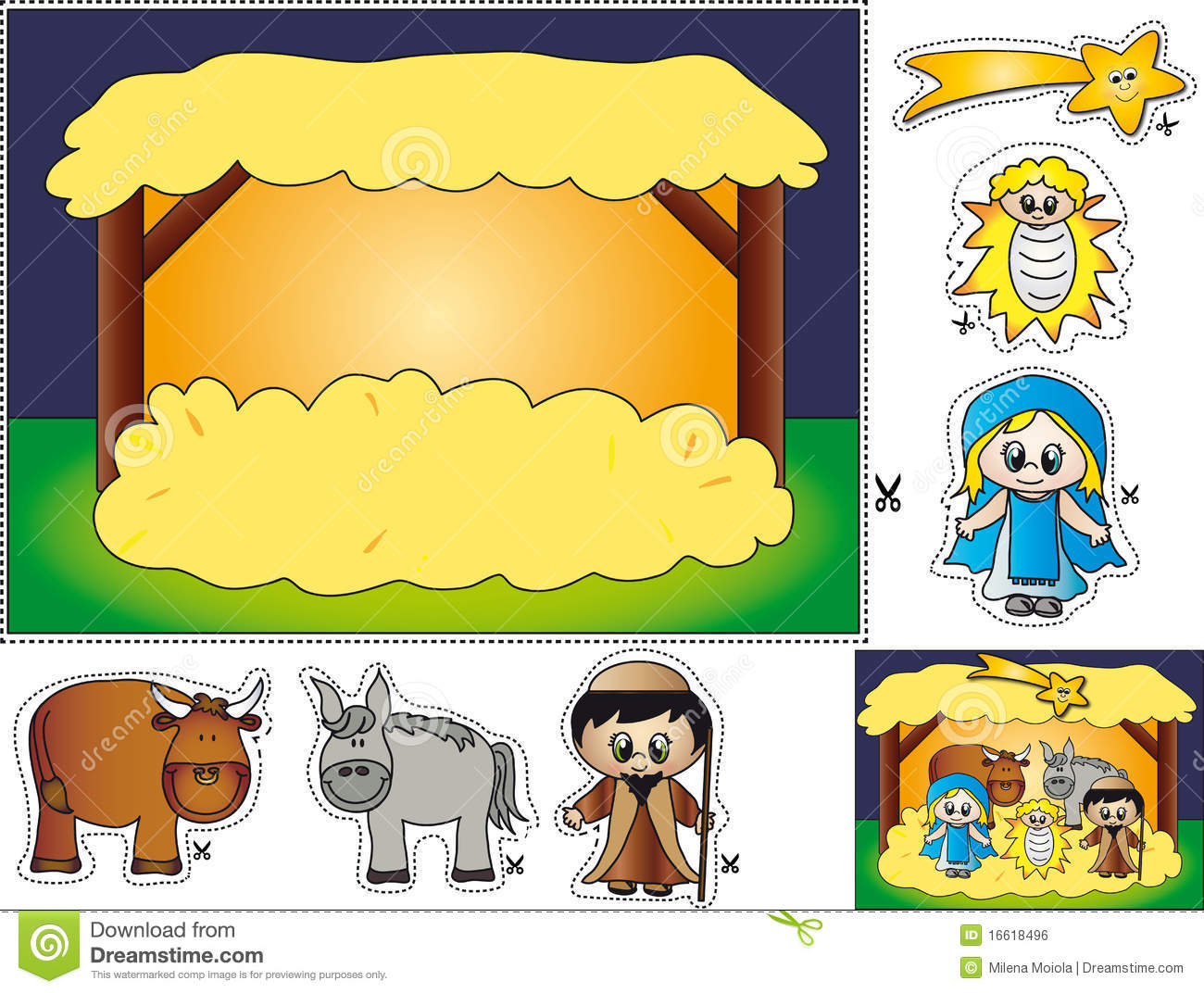 Nativity Cut And Paste Stock Illustration Illustration Of
