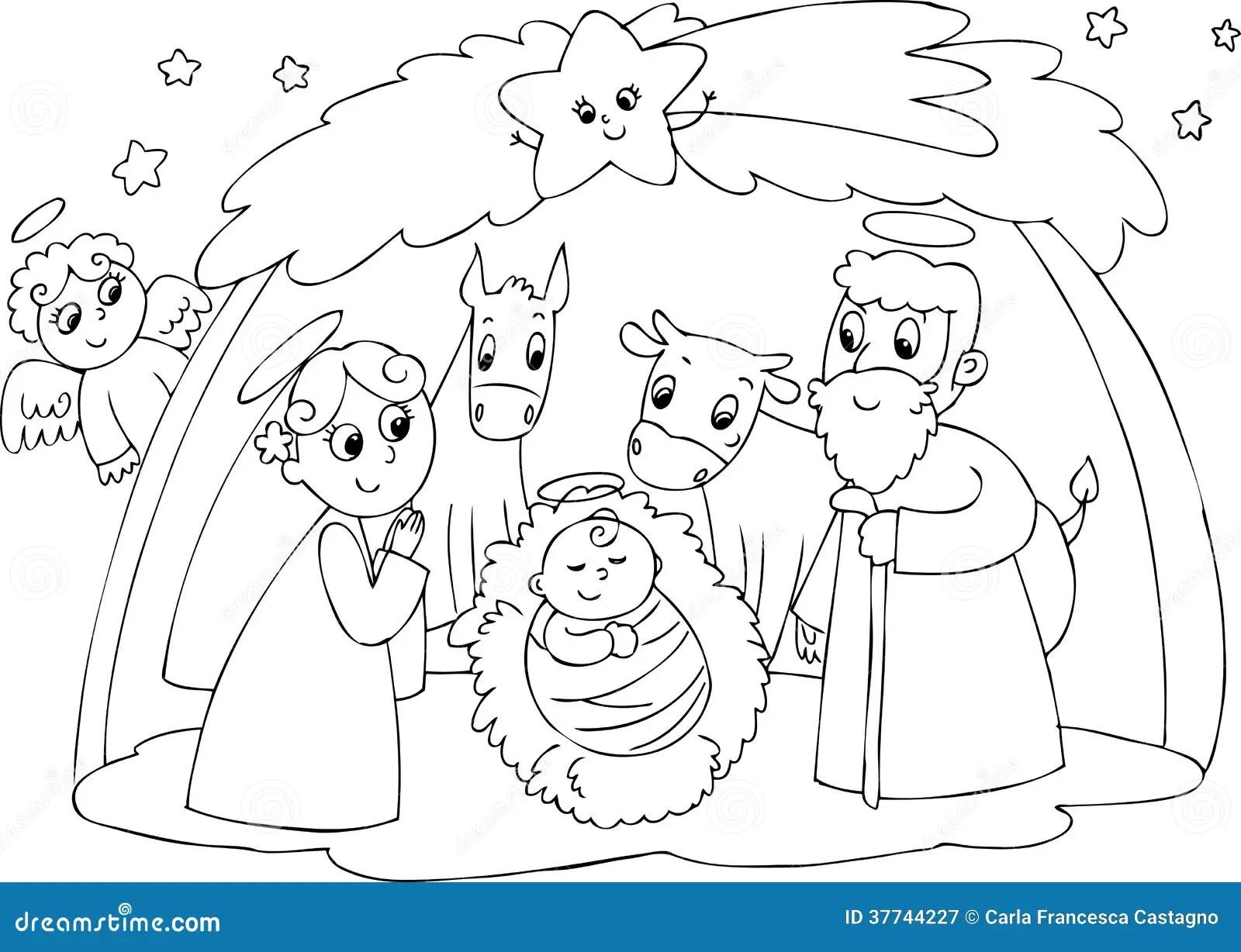 Nativity: Mary Joseph And Jesus Royalty Free Stock