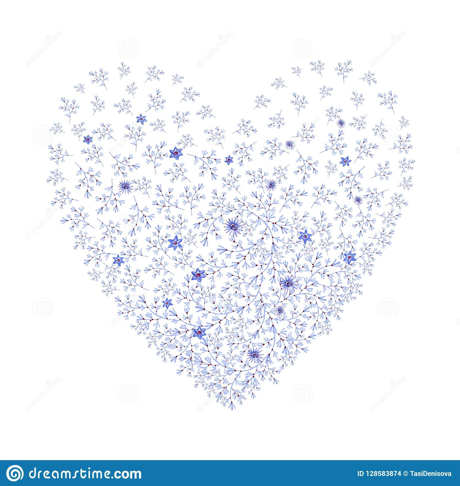 hight resolution of natural blue heart shaped with flowers cliparts for wedding design artistic creation