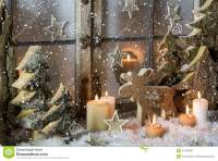 Natural Christmas Window Decoration Of Wood With Snow ...