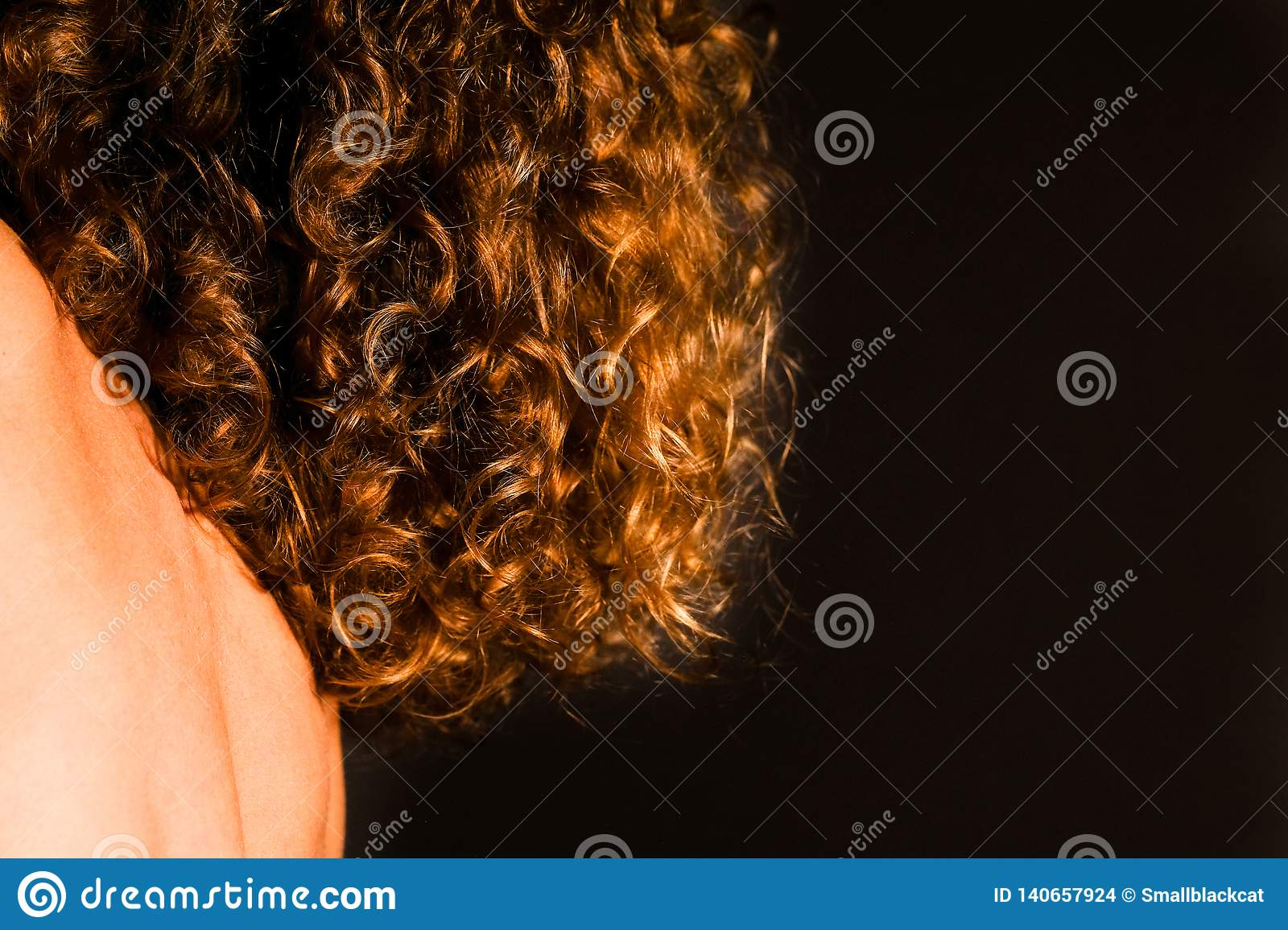 Natural Curly Red Hair Of A Young Woman Stock Photo Image Of