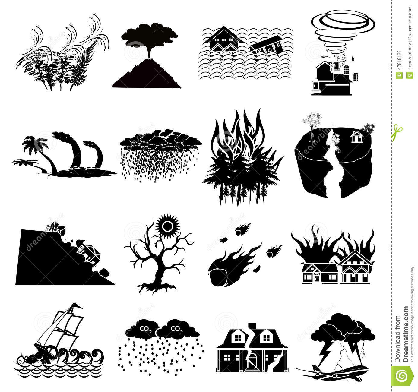 Natural Disaster Icons Set Stock Vector