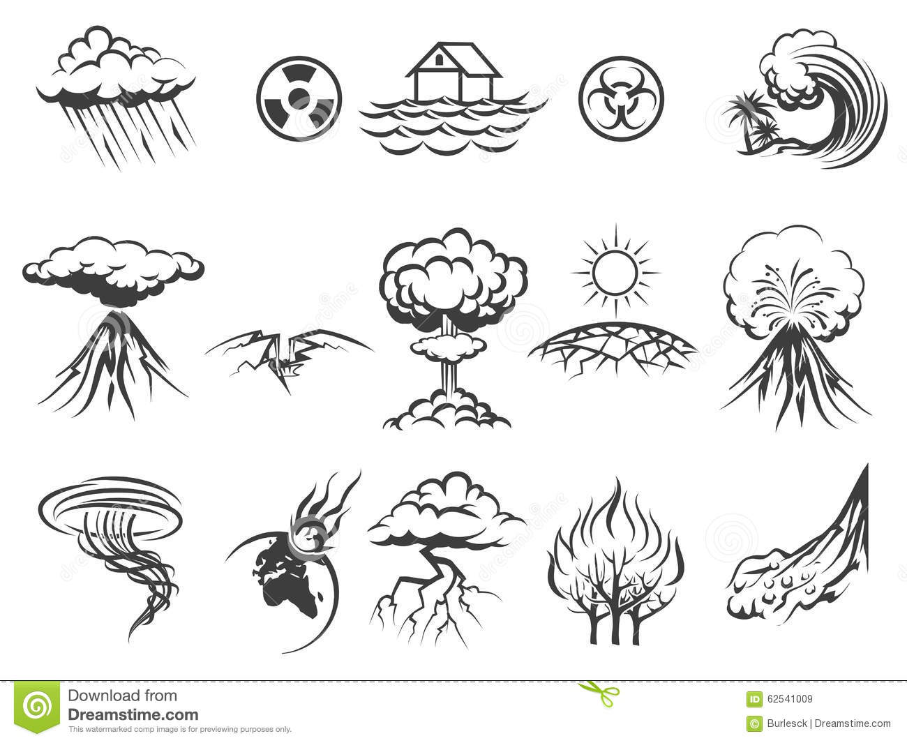 Natural Disaster Icons Cartoon Vector