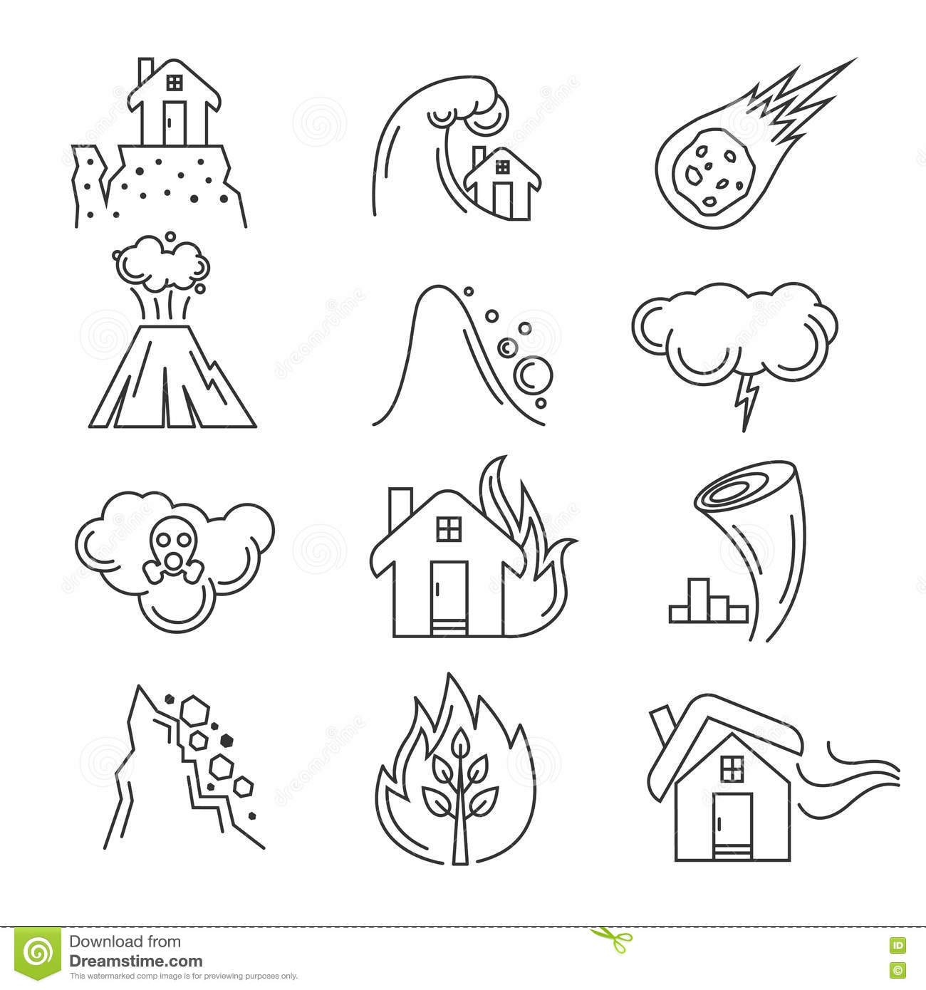 Natural Disaster Vector Icons Stock Vector