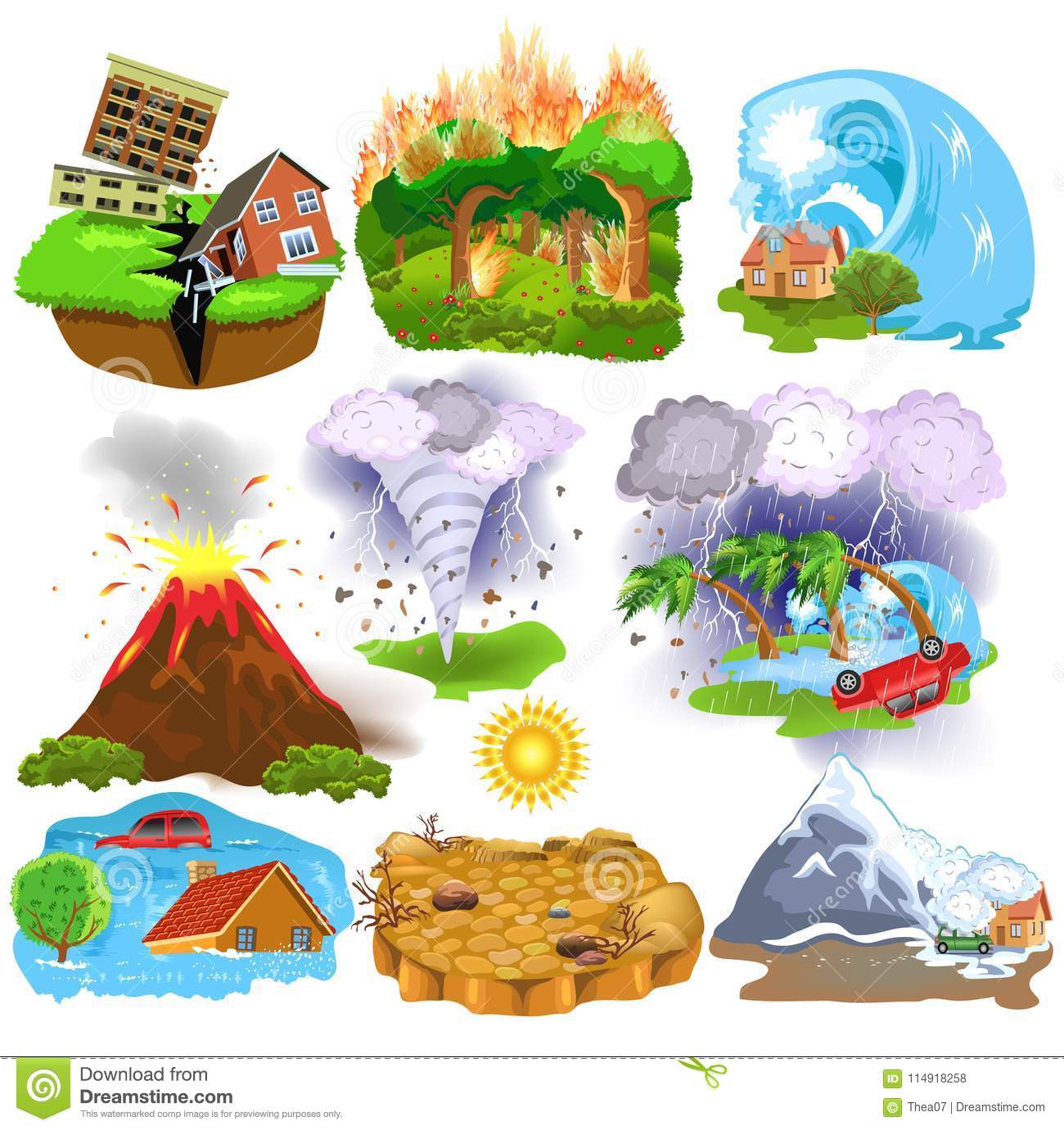 Natural Disasters Icons Like Earthquake Tsunami