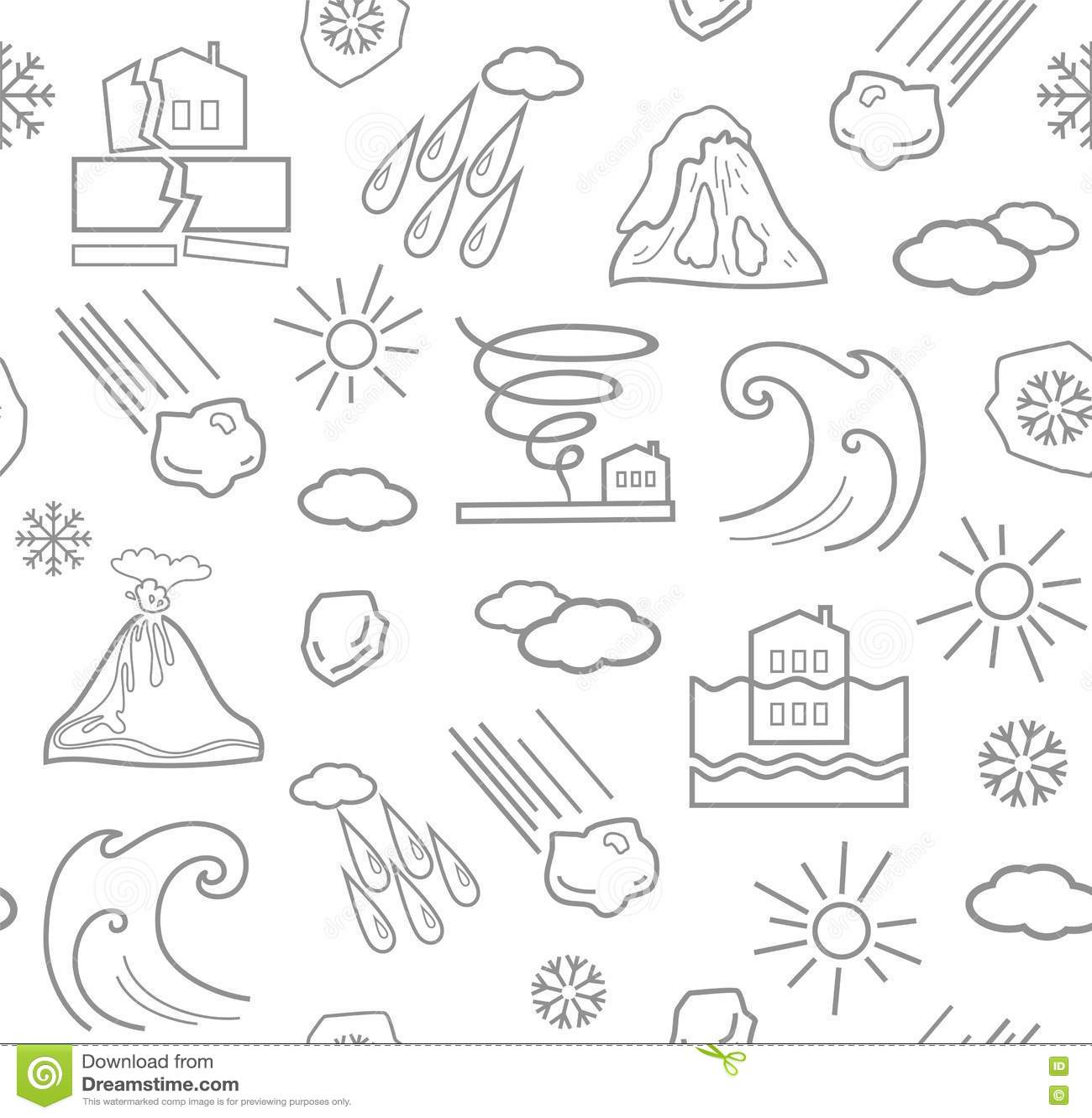 Natural Cataclysm Icons Set, Flat Style Cartoon Vector