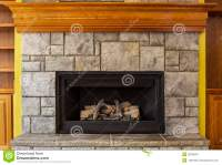 Natural Gas Insert Fireplace With Stone And Wood Stock ...