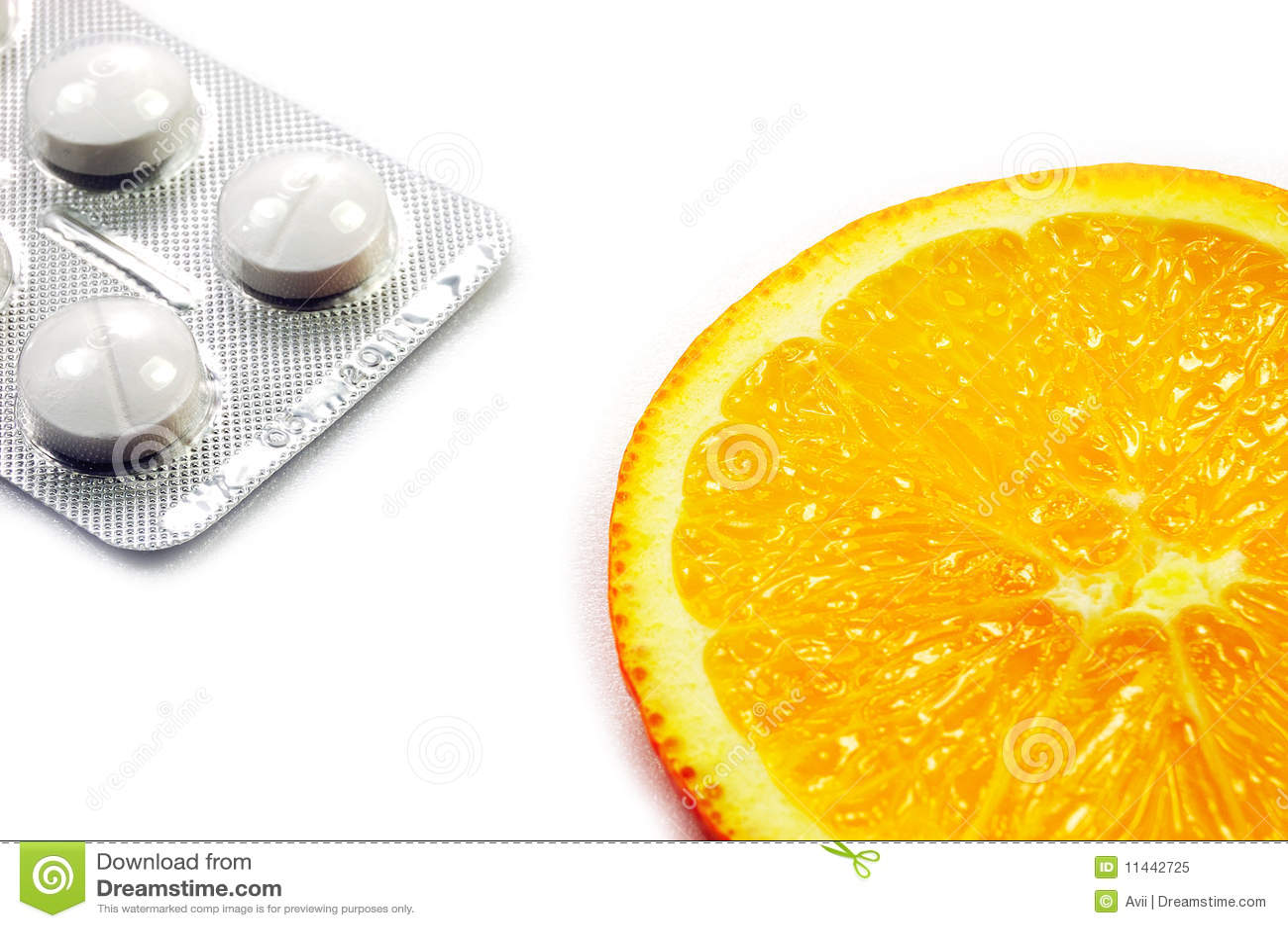Natural Orange Fruit Vs Chemical Medicine Royalty Free Stock Photo
