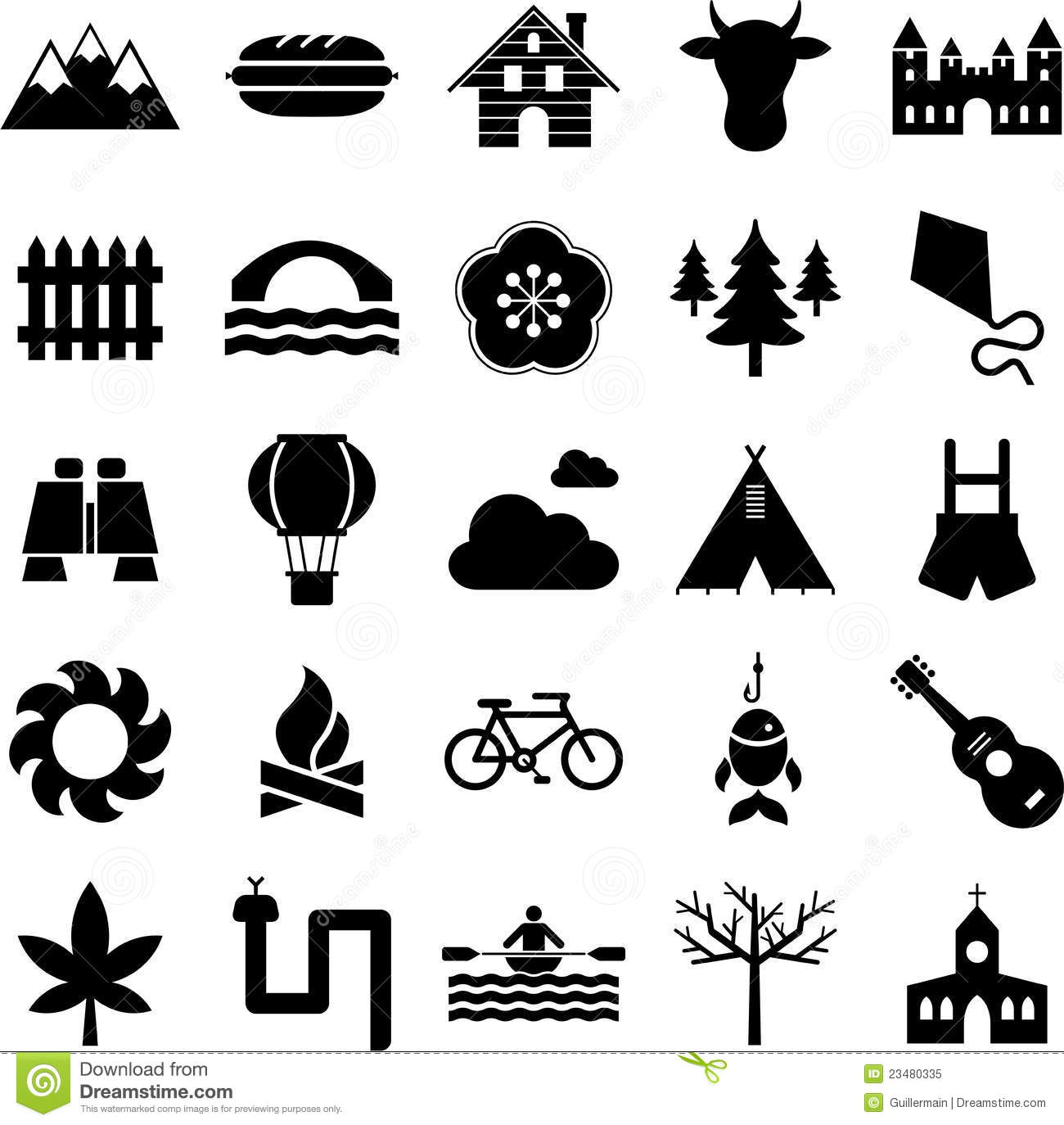 Nature, Camping And Outdoor Activities Icons Royalty Free
