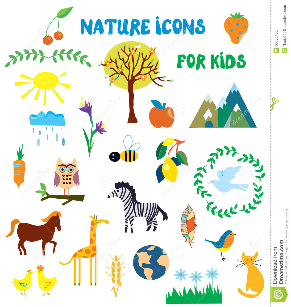 Nature Icons Set For Kids Stock Vector Illustration Of