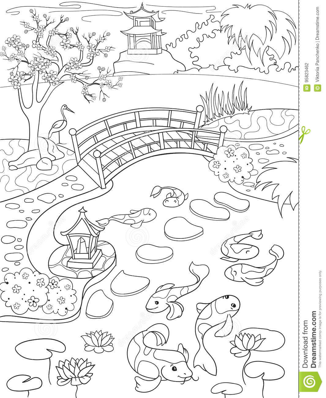 Nature Of Japan Coloring Book For Children Cartoon