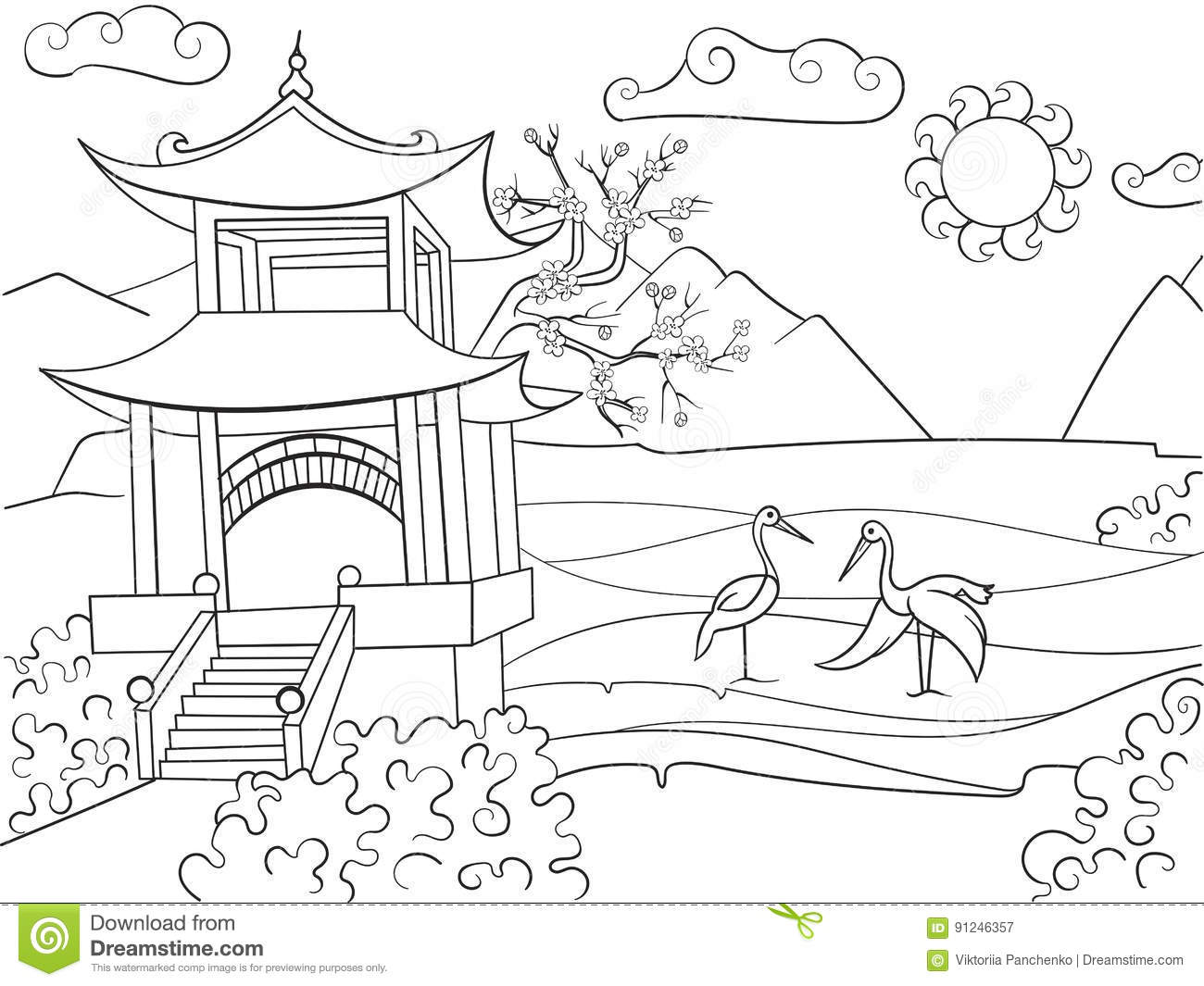 Nature Of Japan Coloring Book For Children Cartoon Vector Illustration Stock Vector