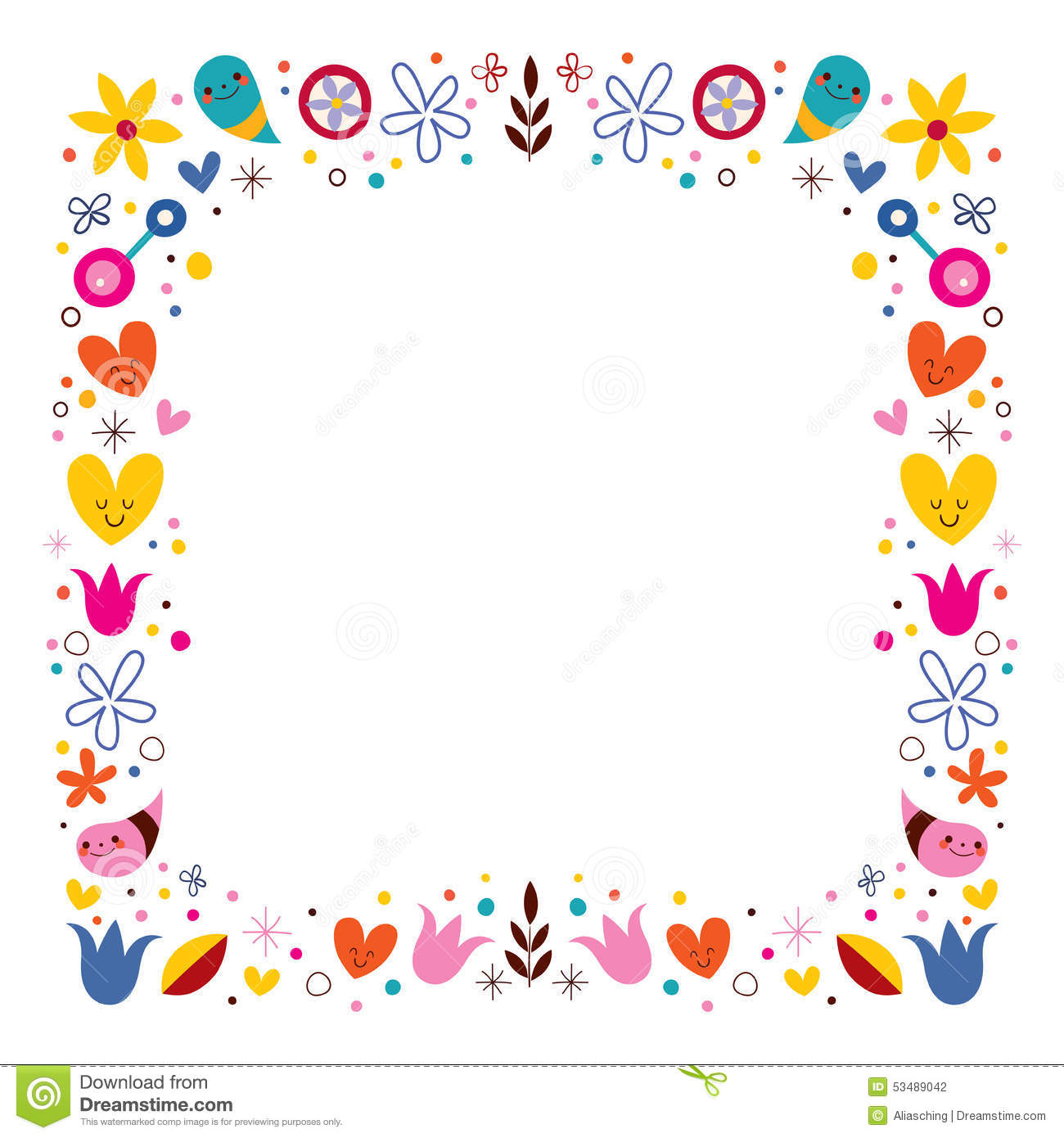 Nature Love Harmony Flowers Abstract Art Vector Frame