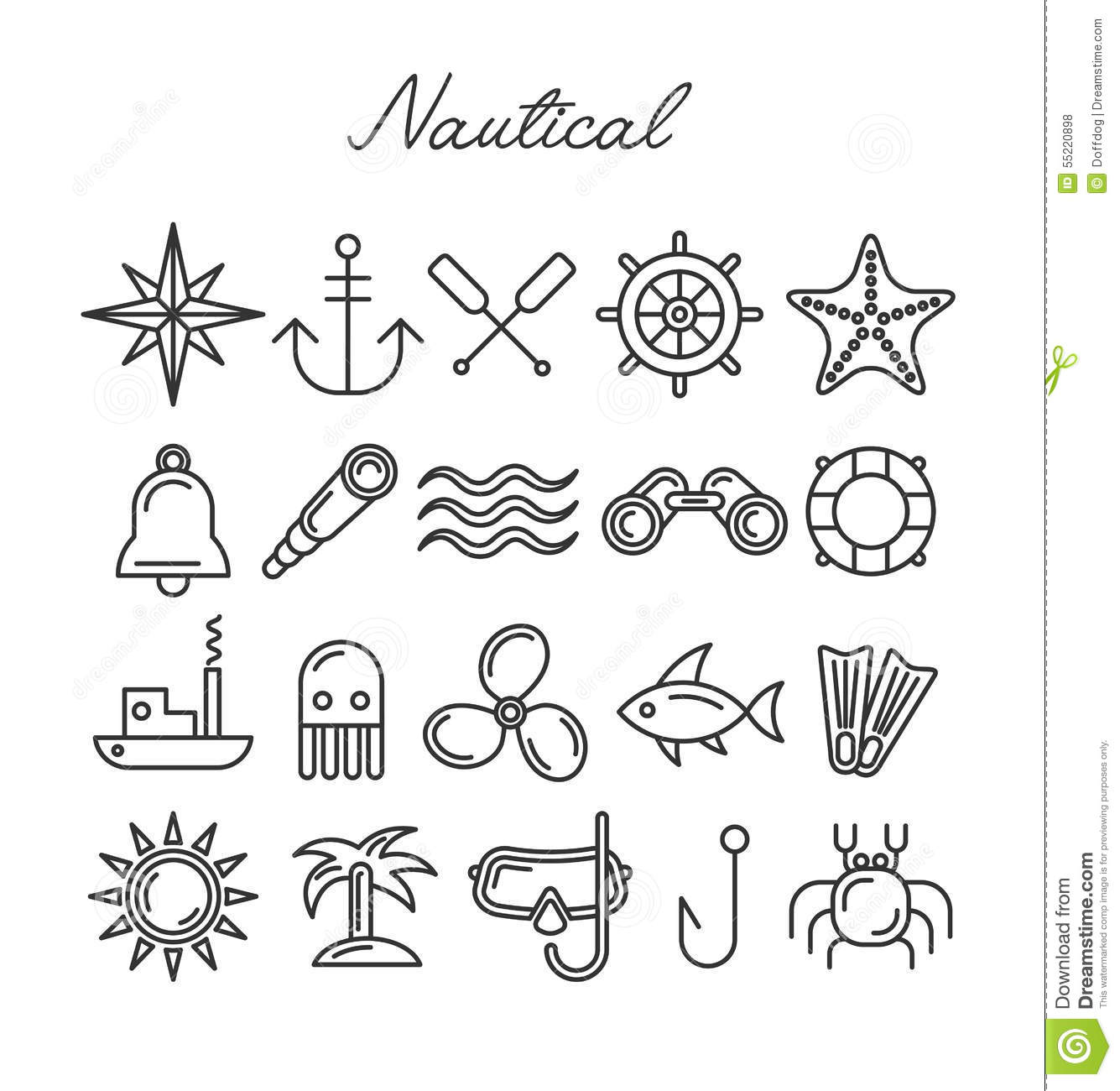 Nautical Icon Set Stock Vector Illustration Of Fish