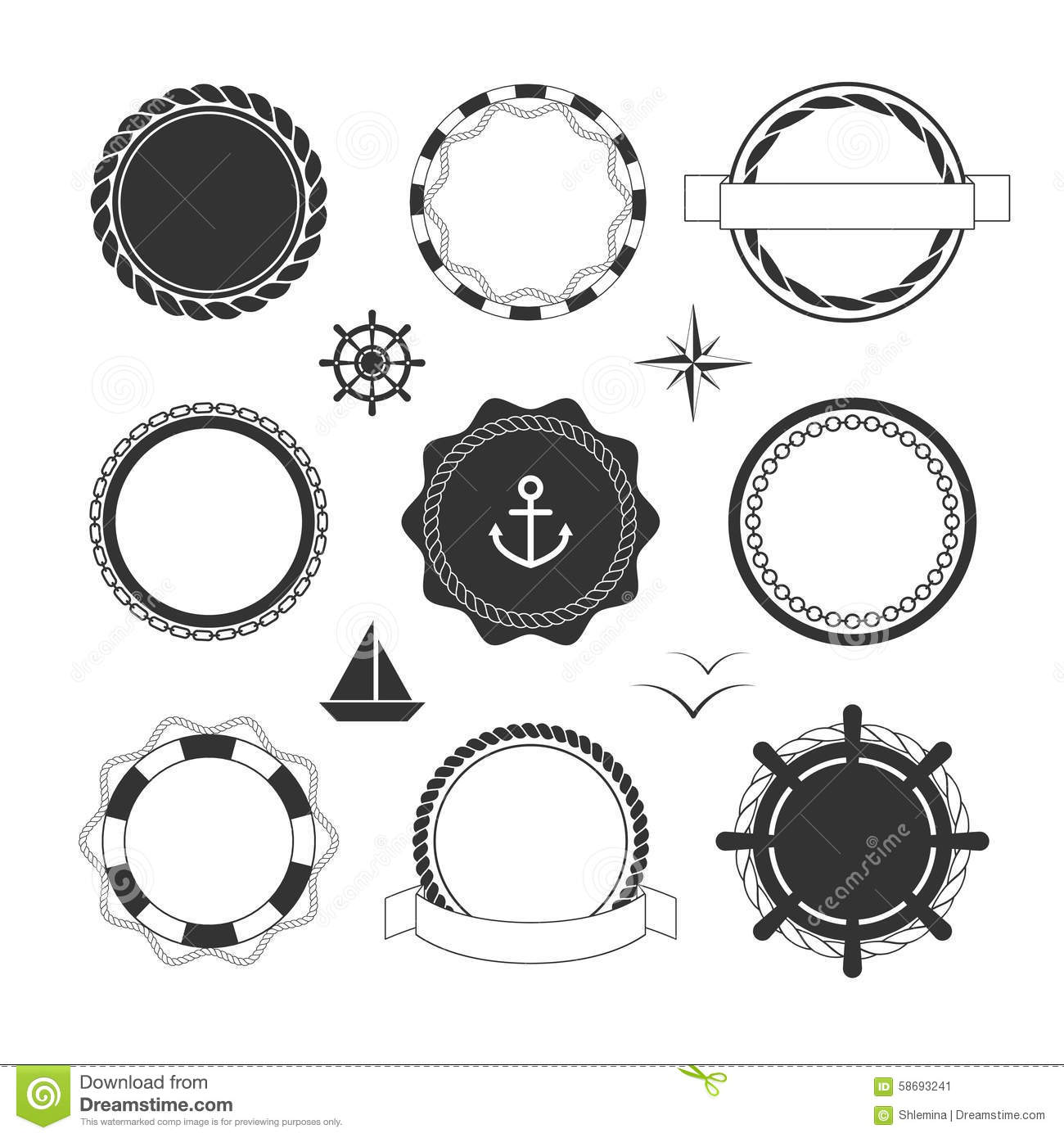 Nautical Icons And Badges Templates Stock Vector