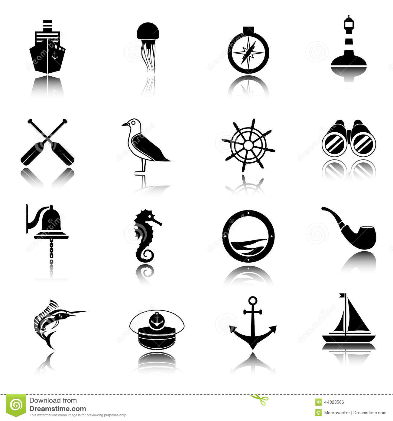 Nautical Icons Set Black Stock Vector Illustration Of