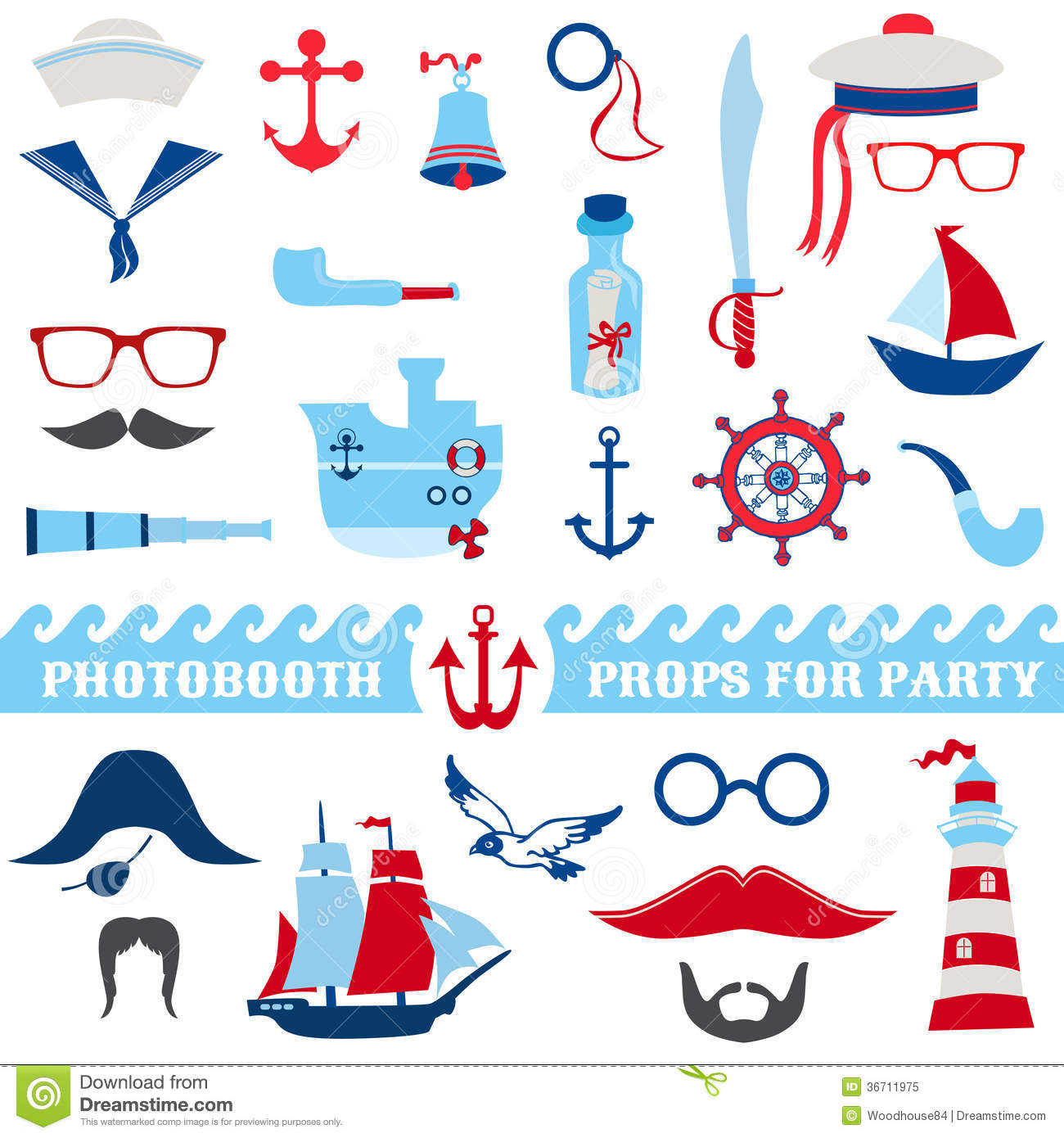 Nautical Party Set Stock Vector Illustration Of Ocean
