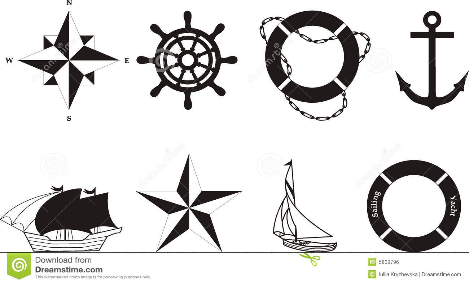 Nautical Vector Amp Rasterized Symbols Stock Vector