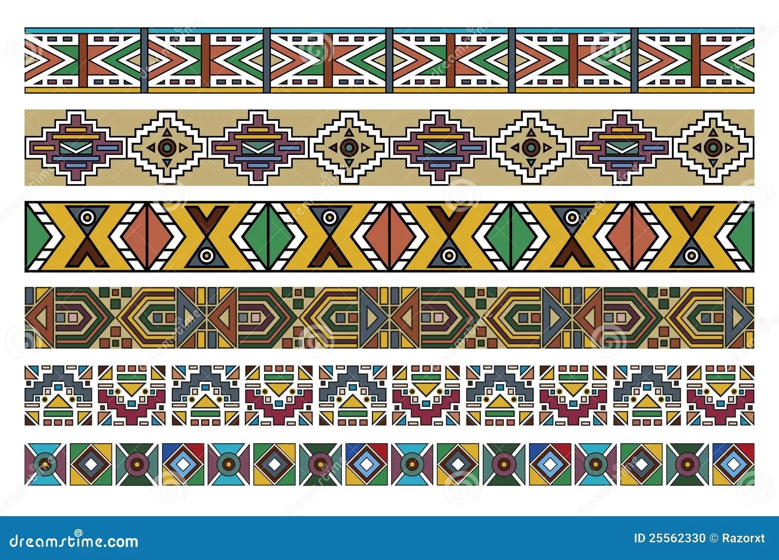 Ndebele Afrikanische Rand Muster Kunst 2 Vektor Abbildung