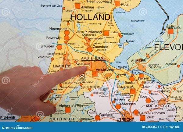 Nederlandse Kaart Met Een Hand Die Aan Amsterdam Richt