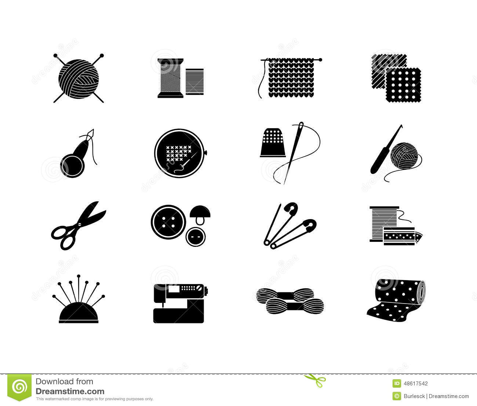 Needlework Icons For Sewing Knitting Needlework Stock