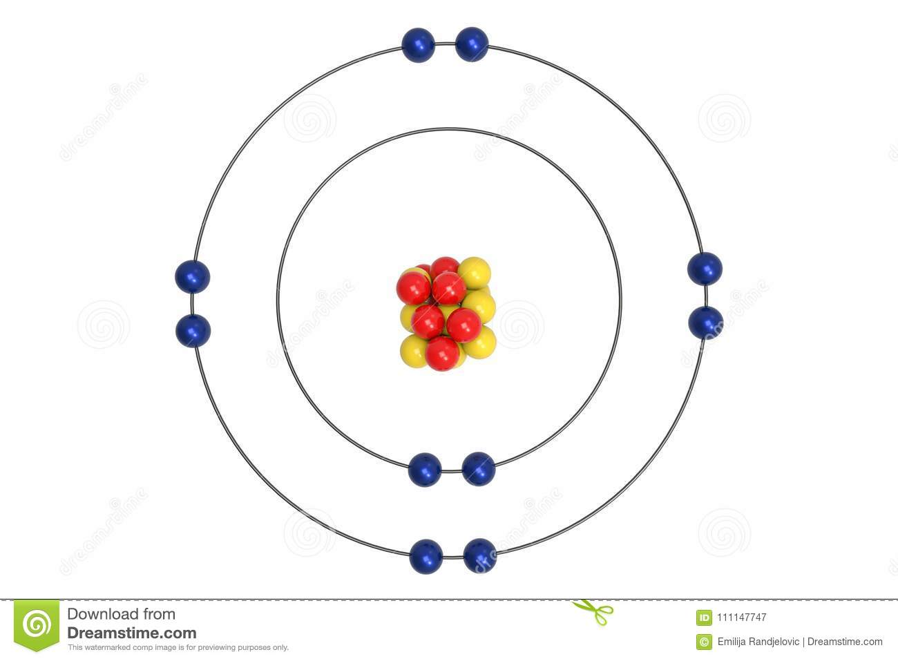 hight resolution of neon atom bohr model with proton neutron and electron