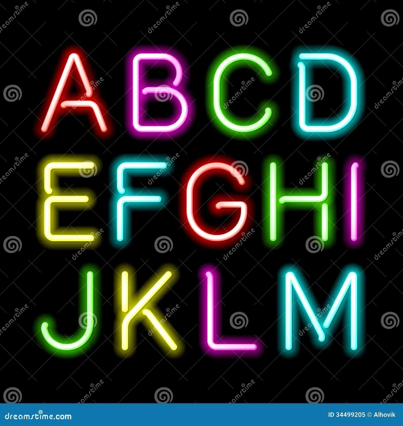 neon glow alphabet stock