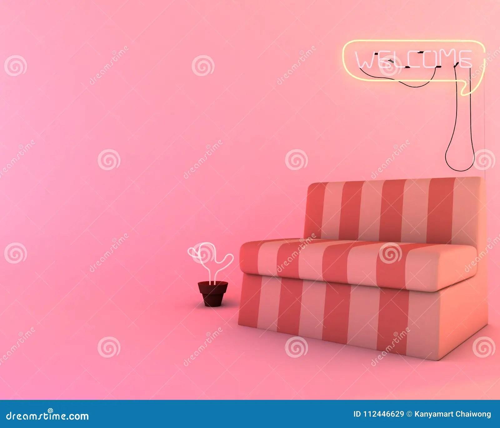 Neon Light In Living Room Furniture Of 3d Render Mockup