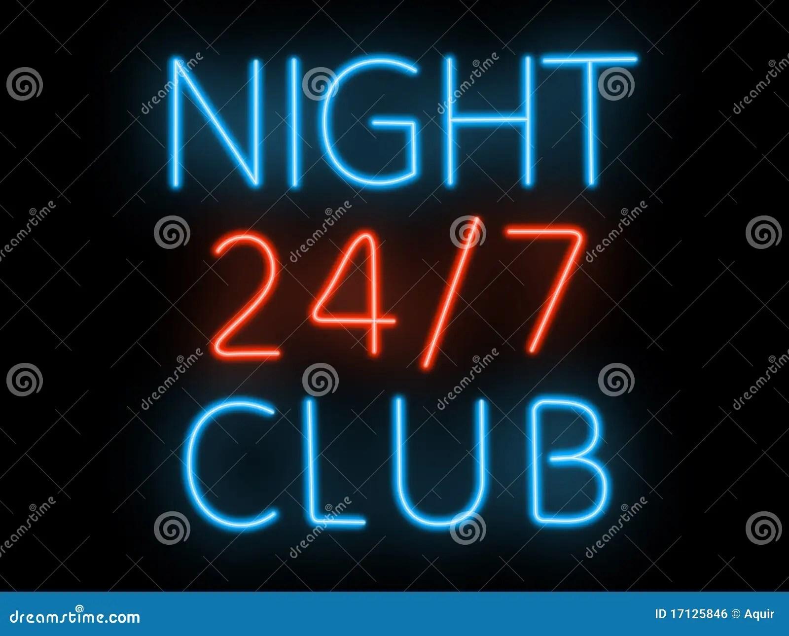 Neon Sign  Night Club Royalty Free Stock Image  Image