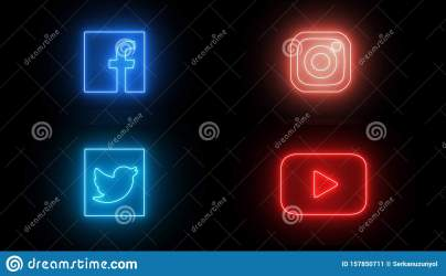 neon icon social led icons glowing lights