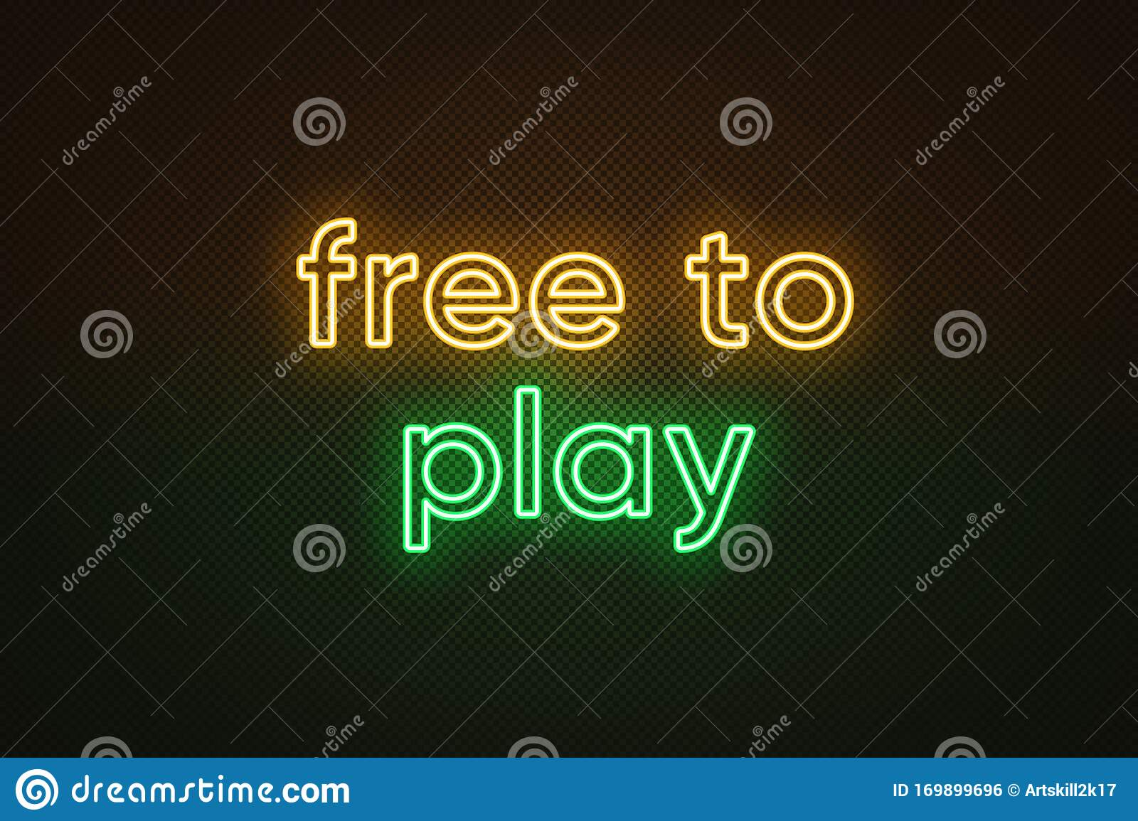 Neon Text Free To Play Yellow And Green Color Business
